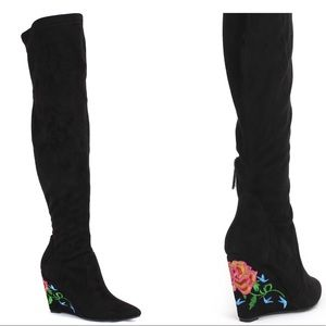 NATURE BREEZE Llana OTK Wedge Embroidered Boots